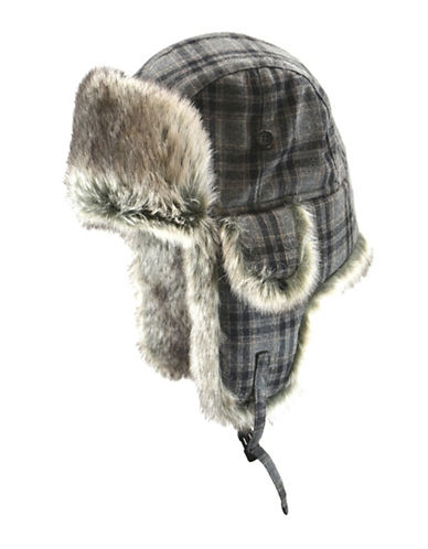Black Brown 1826 Faux Fur Checked Aviator Hat-GREY-Large/X-Large