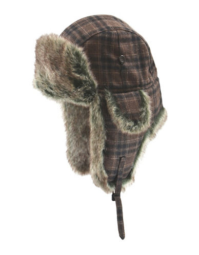 Black Brown 1826 Faux Fur Checked Aviator Hat-BROWN-Medium/Large