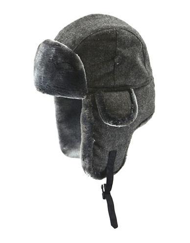 Black Brown 1826 Salt and Pepper Faux Fur Aviator Hat-GREY-Medium/Large