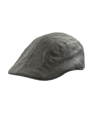 Black Brown 1826 Fine Wool Herringbone Ivy Cap-GREY-Large