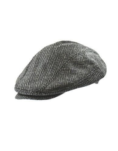 Nathaniel Cole Wool-Blend Herringbone Banded Ivy Cap-GREY-Medium