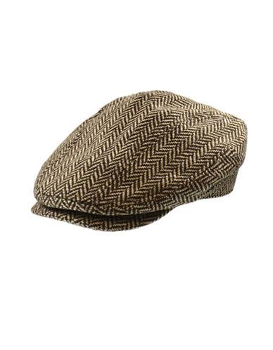 Nathaniel Cole Wool-Blend Herringbone Banded Ivy Cap-BROWN-X-Large