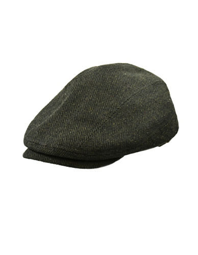 Nathaniel Cole Wool-Blend Herringbone Banded Ivy Cap-GREEN-Large