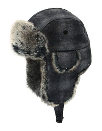Nathaniel Cole Plaid Faux Fur Aviator Hat-BLACK-Large/X-Large