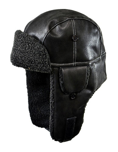 Nathaniel Cole Faux-Leather Aviator Hat-BLACK-X-Large