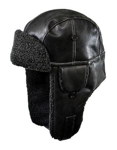 Nathaniel Cole Faux-Leather Aviator Hat-BLACK-Large