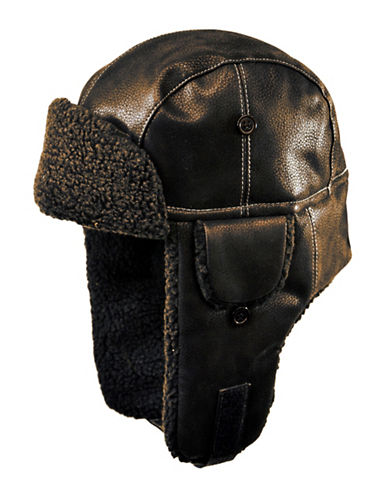 Nathaniel Cole Faux-Leather Aviator Hat-BROWN-X-Large
