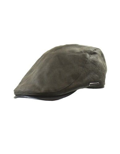 Nathaniel Cole Faux-Leather Cotton Twill Ivy Cap-GREY-X-Large