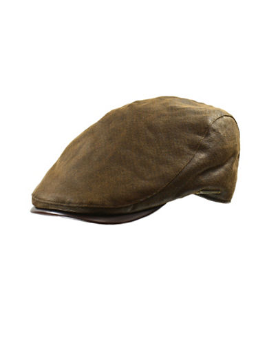 Nathaniel Cole Faux-Leather Cotton Twill Ivy Cap-BROWN-Medium
