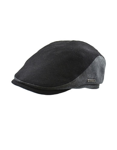 Nathaniel Cole Wool-Blend Tweed Banded Ivy Cap-BLACK AND GREY-Medium