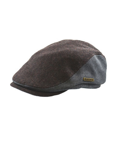 Nathaniel Cole Wool-Blend Tweed Banded Ivy Cap-BROWN/GREY-Large