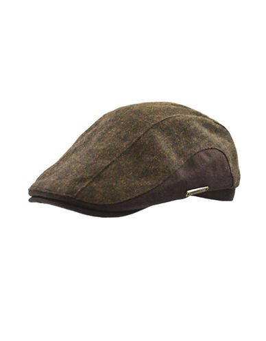 Nathaniel Cole Wool-Blend Two-Tone Tweed Duckbill Ivy Cap-BROWN-Medium