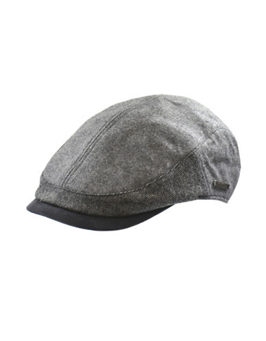 Nathaniel Cole Wool-Blend Twill and Tweed Ivy Cap-BLACK AND GREY-Large