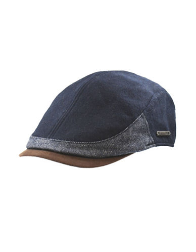 Nathaniel Cole Wool-Blend Twill and Tweed Ivy Cap-NAVY-Large
