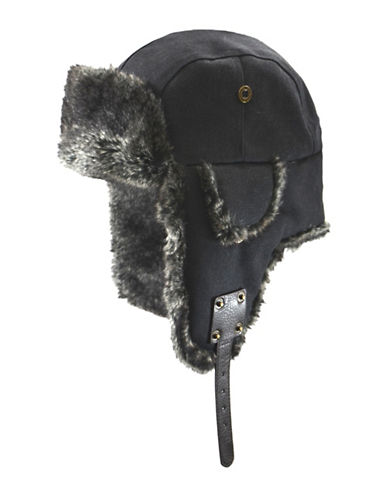 Nathaniel Cole Cole Canvas Aviator with Faux Fur Trim-BLACK-Medium/Large