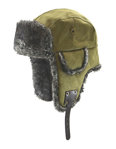 Nathaniel Cole Cole Canvas Aviator with Faux Fur Trim-GREEN-Medium/Large