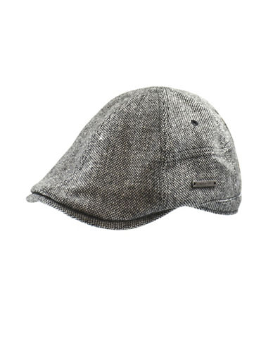 Nathaniel Cole Tweed Duck Bill Ivy Cap-BLACK AND WHITE-Large