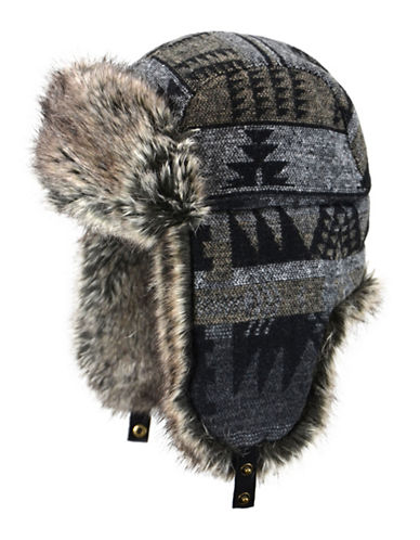 Nathaniel Cole Faux Fur Trimmed Aztec Winter Hat-GREY-Large/X-Large