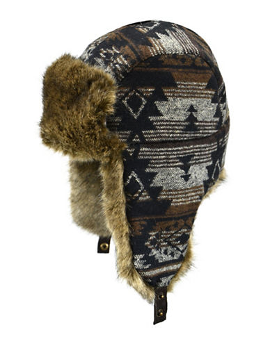 Nathaniel Cole Faux Fur Trimmed Aztec Winter Hat-BROWN-Large/X-Large