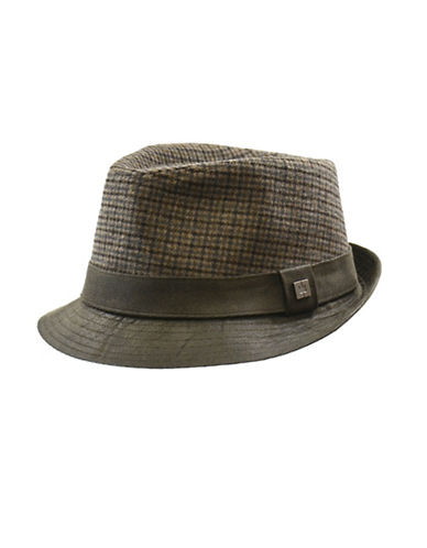 Nathaniel Cole Tweed Plaid Fedora Hat-GREEN-X-Large
