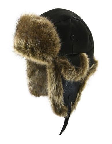 Nathaniel Cole Faux Fur Aviator Hat-BLACK-Large/X-Large