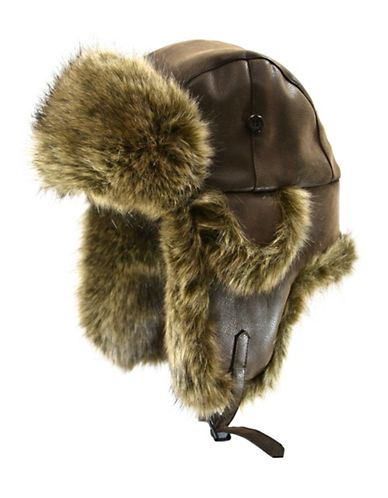 Nathaniel Cole Faux Fur Aviator Hat-BROWN-Large/X-Large