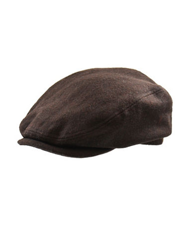 London Fog Wool-Blend Newsboy Hat-BROWN-Large