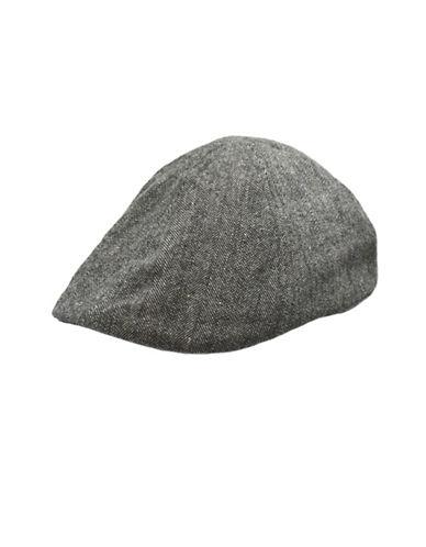 London Fog Wool-Blend Tweed Newsboy Hat-CHARCOAL-Large