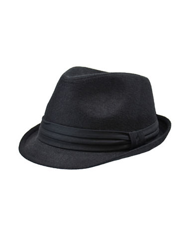 London Fog Wool Blend Solid Fedora-BLACK-Medium/Large