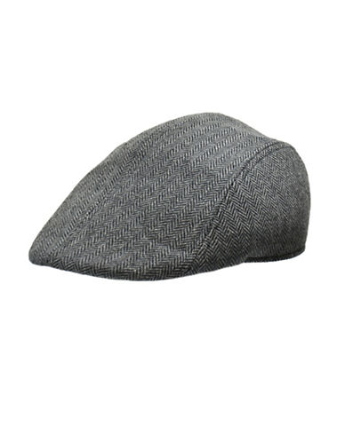 London Fog Wool Blend Herringbone Ivy Cap-GREY-Large