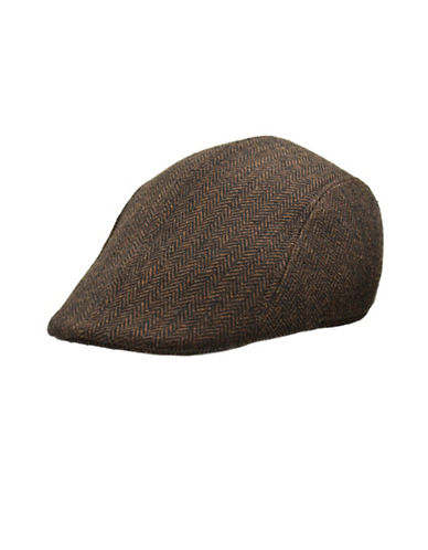 London Fog Wool Blend Herringbone Ivy Cap-BROWN-X-Large