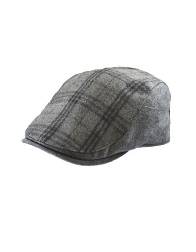 London Fog Wool-Blend Plaid Ivy Cap-GREY-Large