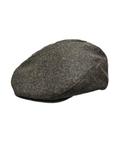 London Fog Wool Blend Tweed Ivy Cap-BROWN-Large