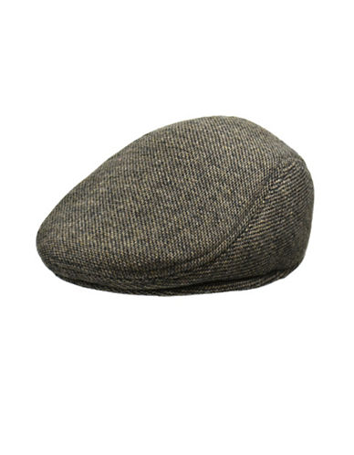 London Fog Wool Blend Molded Ivy Cap-GREY/BROWN-Large