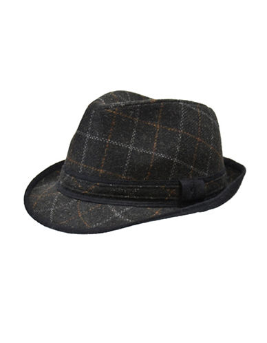 London Fog Contrast Trim Plaid Fedora-GREY-Medium