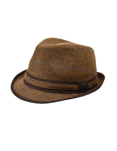 London Fog Contrast Trim Plaid Fedora-BROWN-Large