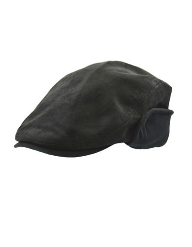 London Fog Fleece-Lined Faux Suede Ivy Cap-BLACK-X-Large