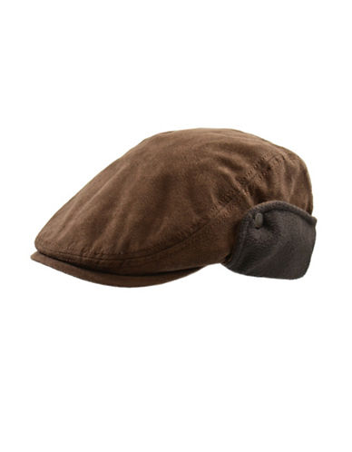 London Fog Fleece-Lined Faux Suede Ivy Cap-BROWN-Large