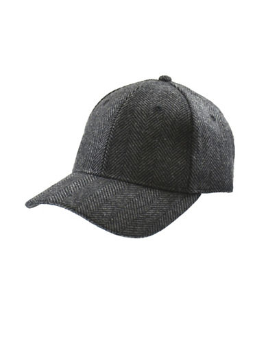 London Fog Wool-Blend Adjustable Ball Cap-GREY-One Size