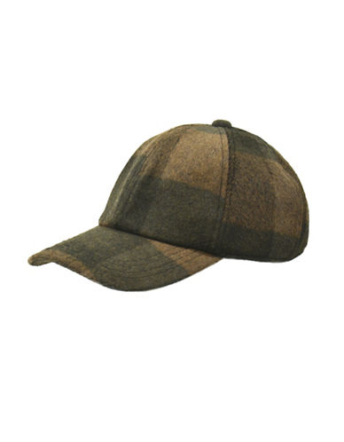 London Fog Plaid Brushed Ball Cap-BROWN-One Size