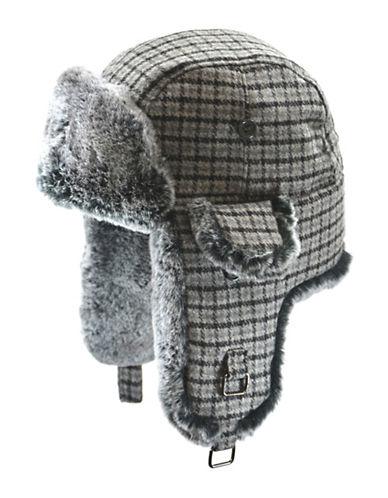 London Fog Snowtop Faux Fur Plaid Aviator Hat-GREY-Large