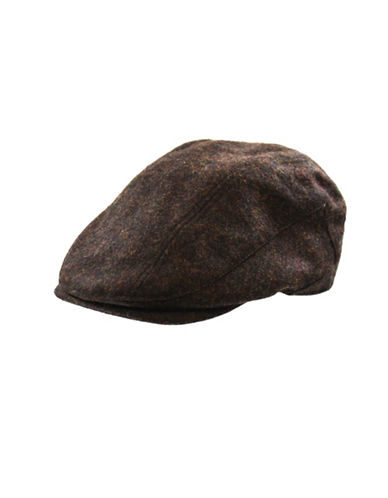London Fog Marled Wool Banded Ivy Cap-BROWN-Large
