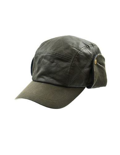 London Fog Quilted Waxed Cotton Ball Cap-GREEN-Large