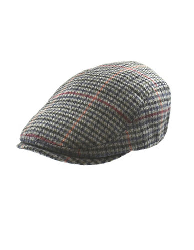 London Fog Marled Wool Houndstooth Ivy Cap-GREY-Large