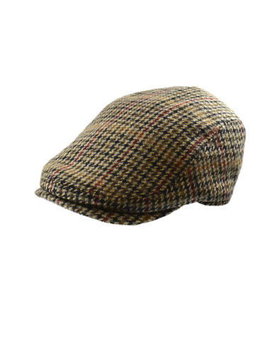 London Fog Marled Wool Houndstooth Ivy Cap-TAN-Large