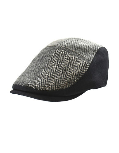 London Fog Patchwork Patterned Ivy Cap-BLACK & GREY-X-Large