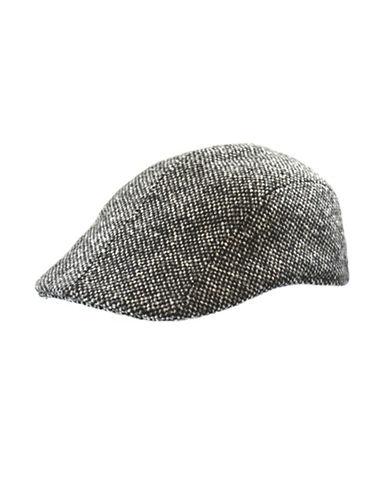 London Fog Donegal Tweed Duckbill Ivy Cap-BLACK-Medium
