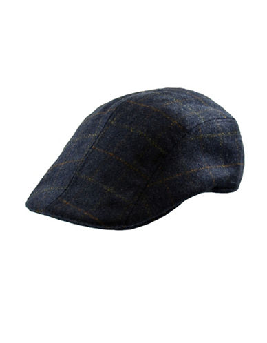 Nathaniel Cole Windowpane Check Ivy Cap-GREY-Medium