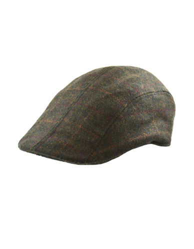 Nathaniel Cole Windowpane Check Ivy Cap-GREEN-X-Large