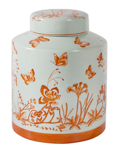 Cobistyle Hand Painted Porcelain Jar-ORANGE-20